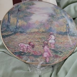 Picking flowers from original painting plate